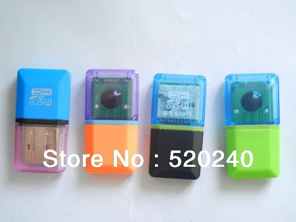 Small diamond card reader mini tf 100pcs free shipping four color(China (Mainland))