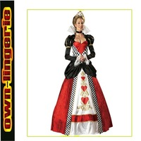 free shipping queen costume adult with sleeves heart of costume print