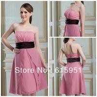 Most popular strapless ribbon sash knee length pink chiffon 2013 bridesmaid dress JY703