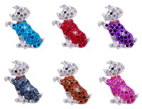 Rhinestone Dog Animal Brooch Child Promotion Gift 14K Gold Plated 6PCS Wholesale Free Shipping