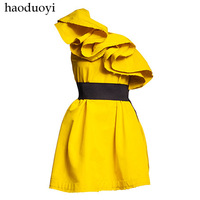 Free Shipping 2014 new fashion women's sexy silk one shoulder ruffle evening party chiffon dress for summer black/yellow XS-XXL