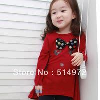 Best selling!!2013 spring dot bow girls dress long sleeve baby girl cotton dress kids garment free shipping