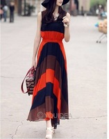 free shipping Wholesale - 1pc Elegant Boho Bohemian Chiffon Pleated Stripes Summer Beach Long Maxi Dress 70420