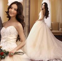 French sweet princess bride lace train wedding dress formal dress the most 2012 winter wedding dress