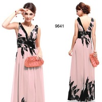 Double V-neck Chiffon Floral Printed Evening Dress