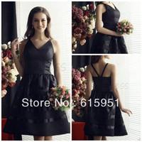 Sexy V-neck off shoulder knee length black taffeta short A-line bridesmaid dress JY711