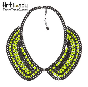 Artilady vintage crystal choker unique necklace  fashion collar statement necklace