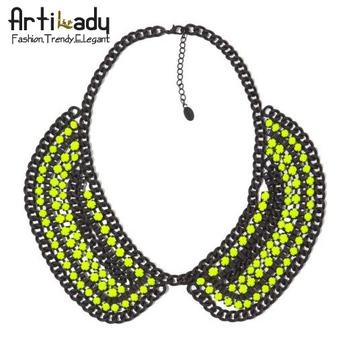 Artilady vintage crystal choker unique necklace  fashion collar statement necklace