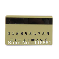 60PCS EMS Free shipping NEW Mini Slim Credit Card Solar Power Pocket Calculator(Army Green)
