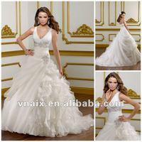 W0164 Sexy Deep V Neck Ruffles Organza Train Fashion 2012 Hot Wedding Dress