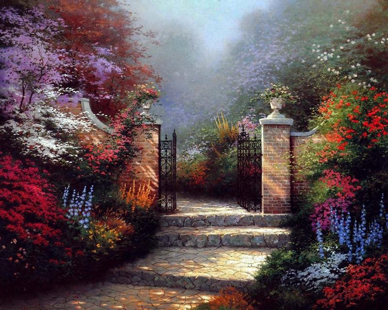Kinkade Paintings Canvas Kinkade Garden Paintings