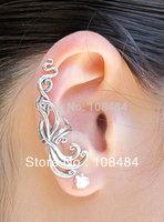 Clip earring for women silvery wave alloy ear cuff jewelry 12 pcs/lot free shipping