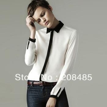 Free/drop shipping 2013 Style Women Collar Contrast Long Sleeve Chiffon Shirt Summer Tops For Women Quality Brand Designer