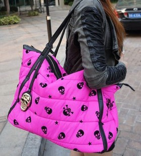 winter bag  plush skull bag large capacity shoulder bag down bags female bags