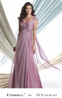 Free Shipping Fashion Custom Made 2015 Elegant One-Shoulder A-Line Floor Length Beaded Chiffon Purple Mother Of Bride Dresses