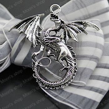 (27063)10PCS 47*43MM Antique Silver Plated Zinc Alloy Necklaces Pendants Dragon Pendants Diy Jewelry Findings Accessories