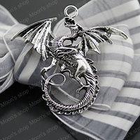 (27063)Free Shipping Wholesale Vintage Charms & Pendants Alloy Antique Silver 47*43MM Dragon 10PCS