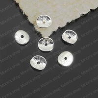(25881)Jewelry Findings,Accessories,Vintage charm,pendant,Alloy Silver 9*8MM Round or curved brushed disks 100PCS
