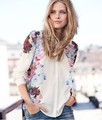 Free shipping 2013 Europe Style/ Chic Ladies Shirt Retro Floral Painted Lapel Cuffion Blouse Freeshipping