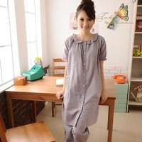 Full 100% cotton maternity clothing sleepwear month of nursing clothes short sleeve length culottes set -wmyz1