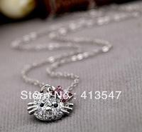 Wholesale Free Shipping Silver Hello Kitty Crystal Pendant Neckalce vintage cute rhinestone costume jewelry no missing Zircon