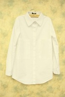 2013 spring and summer women's simple all-match solid color white cotton white shirt Women
