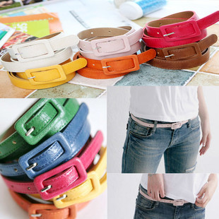 [77 Queen]queer accessories women's square toe thin belt pin buckle chain candy color strap