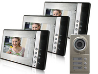 "Big sale Door Phone 7"" touch key Monitor LCD Color Video DoorPhone Intercom IR CMOS Camera With 2GB TF Card"