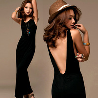 Free shipping Women Black Sexy Backless Open back Halter Long Maxi Stretch Dress Sleeveless Casual Evening Party Dresses Q8009