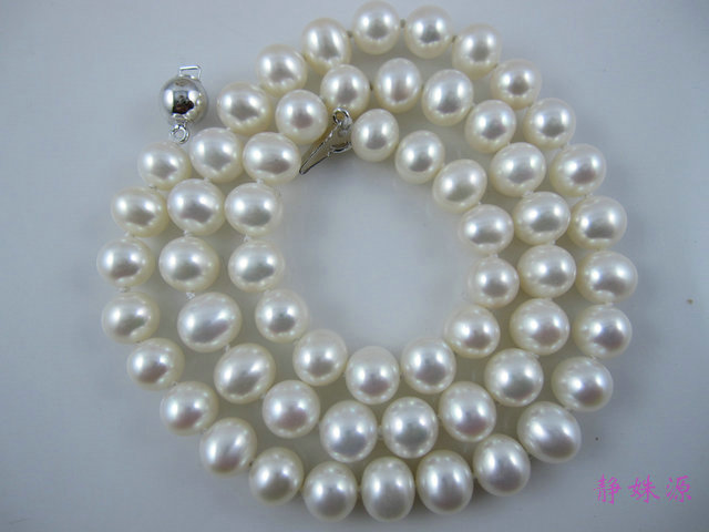 FREE P&P***** New arrival natural freshwater pearl 7-8mm thick light pearl necklace four sides light most(China (Mainland))