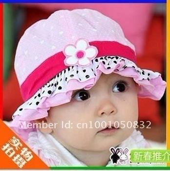1pcs fashion  infant  visor sunhat  soft cotton baby sun hats  girl's princess topee beach sunhats kid's summer cap with flower