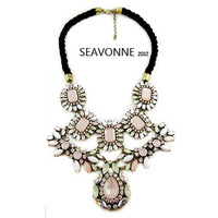 Christmas gifts Freeshopping Pink Crystal Chunky Necklaces exaggerated Resin Ribbon bubble Bib Statement Necklaces N1364