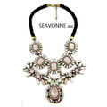 Freeshopping 2013 Fashion exaggerated Resin Ribbon Bib Statement Chunky Necklaces Pink Crystal  N1364
