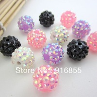 Free shipping 12mm 80pcs/lot polymer clay solid AB color diamond ball full resin rhinestone loose beads DIY jewelry accessories