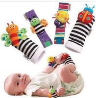 candice guo! New arrival baby rattle baby toys Garden Bug Wrist Rattle 10pcs+Foot Socks10pcs= 20pcs