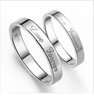 "GS JZ-8 free shipping fashion new arrivals ""love forever"" 925 stamp silver wedding couple rings 1pair/lot wholesale"