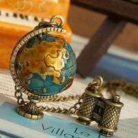 Promotion! Wholesale!  Vintage lady women jewelry accessory Miniature telescope&globe alloy necklace   SN157