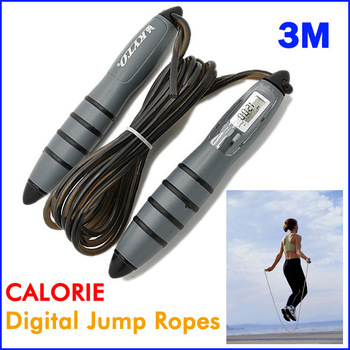 Hot Wholesale Intelligent CALORIE 3M Digital Skipping Jump Rope Counter Timer LCD Free Shipping HS0053