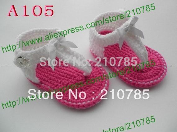 De verano para bebés la mano- tejido bebé sandalias ciruelo blanco
