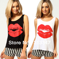 Women's T-Shirts Vest O-Neck Tank Tops Brilliant red lips printing loose Fashion short vest bottoming Free Shipping T025
