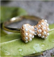 Trendy Cute Pearl Rhinestone Bow Gold Ring Adjustable Size 5pcs/Lot Z-Q619 Free Shipping