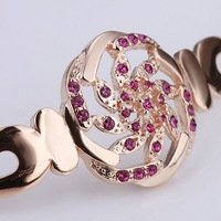 18KGP B006 18K Gold Plated Bracelet Health Jewelry Nickel Free K Golden Plating Rhinestone Austrian Crystal