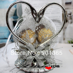 New crystal &#39;loving pair&#39; of swans wedding favours and gifts/valentines candy box 2 colors mixed(China (Mainland))