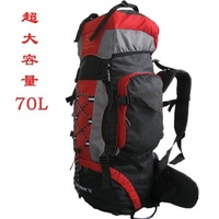 FREE SHIPPING Large capacity professional mountaineering bag 70L hiking backpack metal mount with rain cover