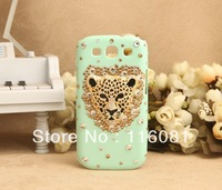 Free Shipping with retail package 3D Leopard Tiger Bling Diamond Rhinestone back case for Samsung Galaxy SIII I9300