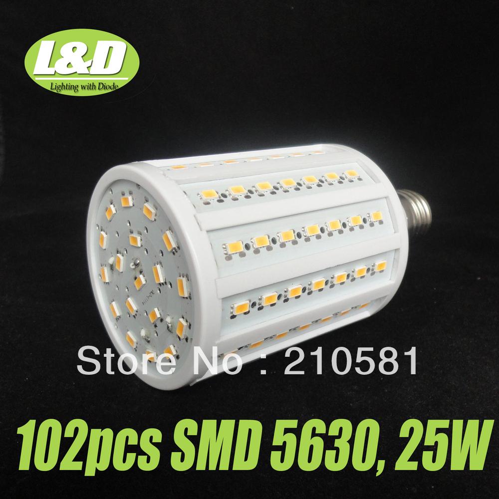 25W, E27 LED corn bulb light ,warm white,pure white, 102pcs SMD 5630 LEDs,high quqlity,High-Brightness,Free Shipping,Wholesale,