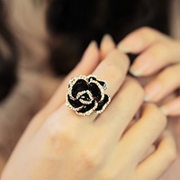 Promotion! Wholesale! Fashion lady women jewelry Party black rose open ring finger ring female jewelry SR140