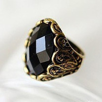 Promotion! Wholesale! Min.order is $10(mix order)Freeshipping/Black fashion vintage carved ring finger ring SR121