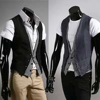 Elegant fashion men  plaid faux two piece male slim vest