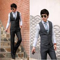 Luxury elegant  color block collar slim vest